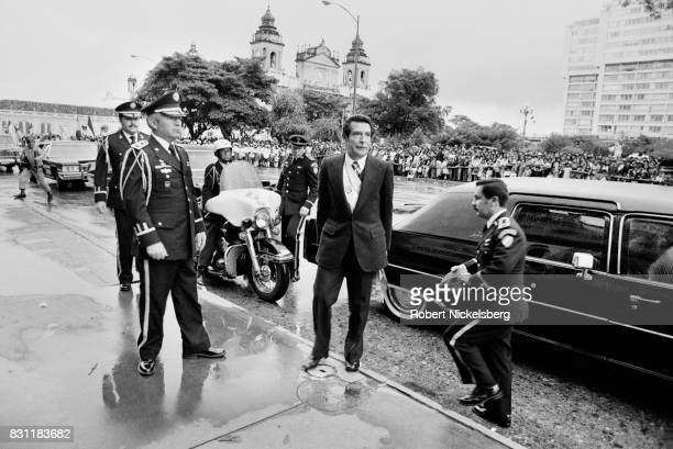 General and President Efraín Rios Montt arrives for a ceremony at the Presidential Palace October 20 1982 in Guatemala City Guatemala President Rios...