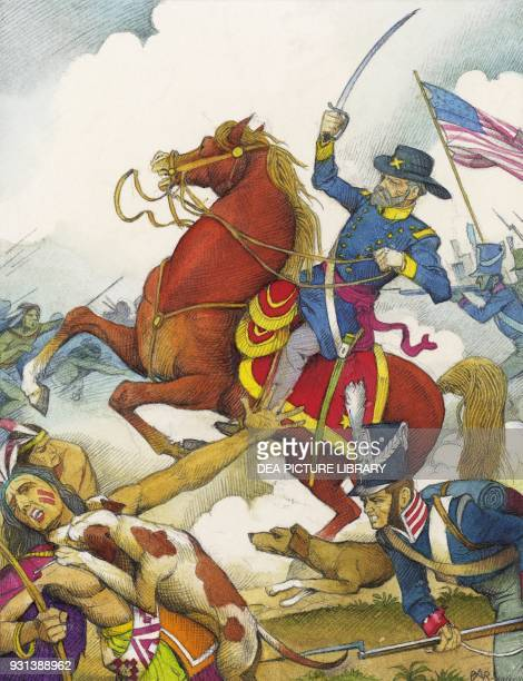 General Andrew Jackson attacking the Seminole Indians and the other tribes led by Tecumseh drawing from a print United States of America