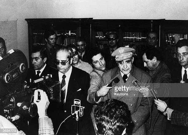 General Antonio de Spinola the Portuguese soldier and President is pictured with General Coasta Gomes answering questions from the International...