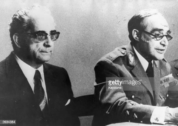 General Antonio de Spinola the President of Portugal having just announced his resignation as president His successor General Costa Gomes is sitting...