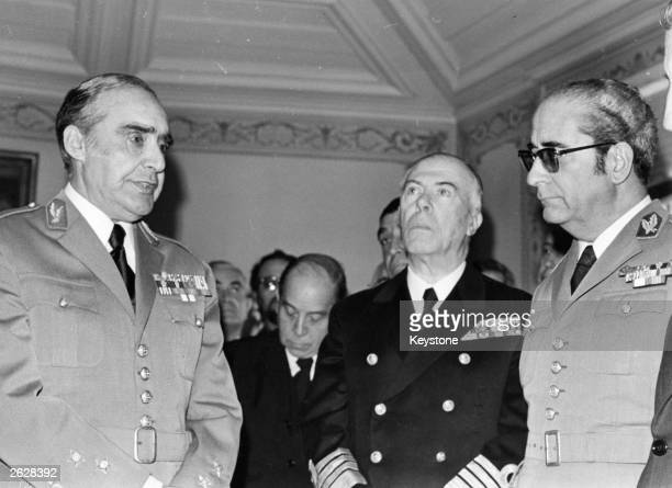 General Antonio de Spinola with Costa Gomes leaders of the coup in Portugal In the centre is Captain Antonio Rosa Coutinho