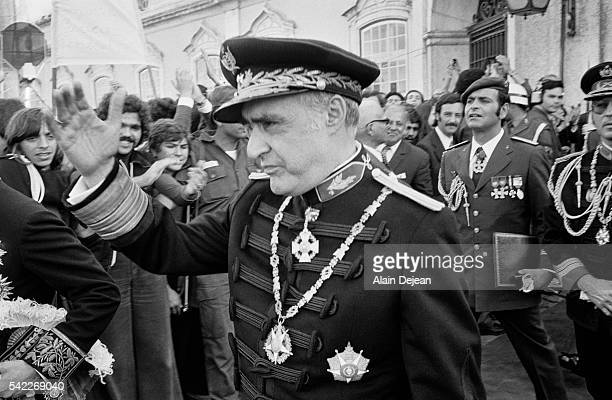 General Antonio Spinola exits Queluz Palace where he has just been nominated President of the Republic