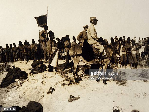 General Armando Diaz speaking to the Ascari troops Cyrenaica Libya February 1914 Italian colonialism in North Africa 20th century Rovereto Castello...