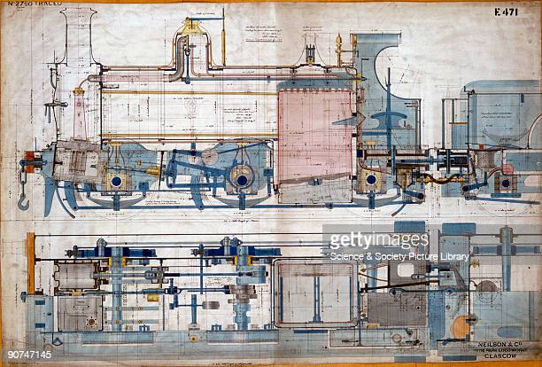 General arrangement drawing of a tank locomotive made by Neilson Co at the Hyde Park locomotive works in Glasgow for the Somerset Dorset Joint Railway