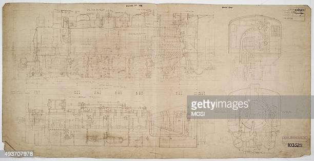 General arrangement drawing of Antofagasta Bolivia Railway '282' locomotive circa 1925
