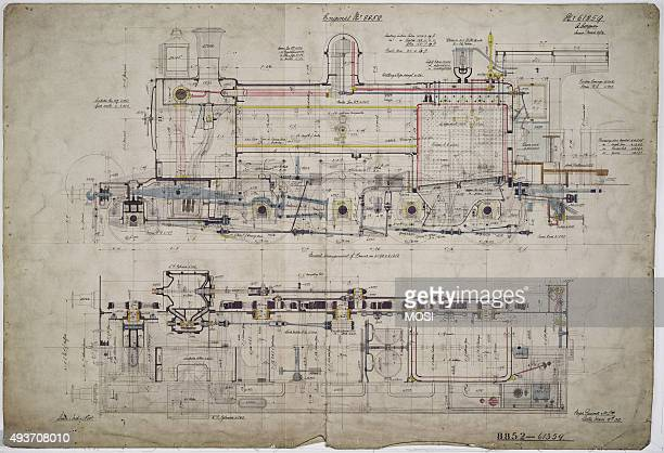 General arrangement drawing of Buenos Ayres Great Southern Railway '280' locomotive circa 1905