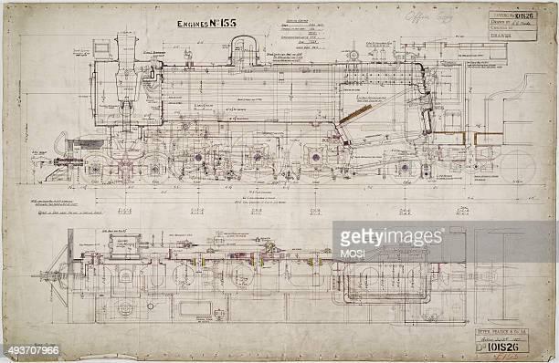 General arrangement drawing of Federated Malay States Railway '462' locomotive circa 1925