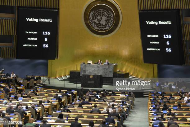 A UN General Assembly meeting is held at its New York headquarters on May 22 at which it adopted a resolution demanding Britain withdraw from the...