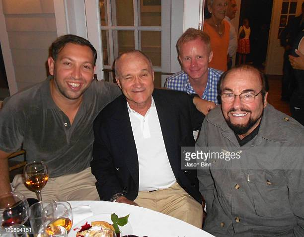 General Atlantic's Anton Levy Comissioner Kay Kelly President Gilt City Nate Richardson and actor James Lipton dine circa August 2011 in The Hamptons