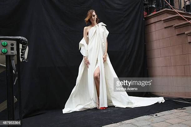 General atmopshere backstage at the Monse fashion show during Spring 2016 MADE Fashion Week at Norwood Club on September 12 2015 in New York City