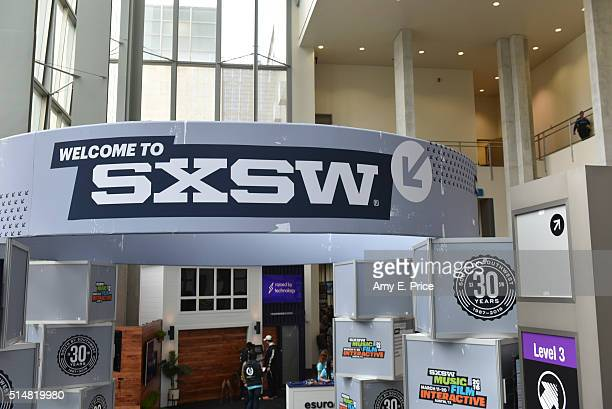 General atmosphere and logos for the 30th anniversary SXSW festival on March 11, 2016 in Austin, Texas.