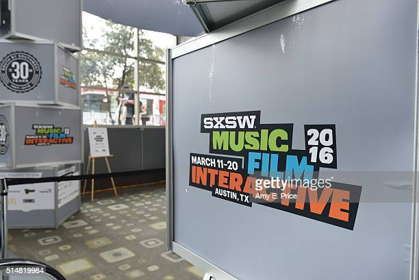 General atmosphere and logos for the 30th anniversary SXSW festival on March 11 2016 in Austin Texas