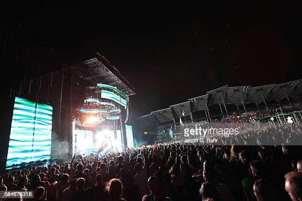 General atmosphere as Bassnectar performs during opening night of Bass Center 2016 at Dick's Sporting Goods Park on July 29 2016 in Commerce City...