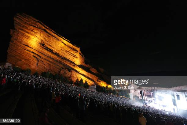 General atmosphere as electronic musicians Harrison Mills and Clayton Knight of Odesza perform at Red Rocks Amphitheatre on May 27 2017 in Morrison...