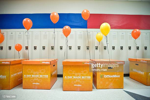 """General atmosphere as OfficeMax CEO Ravi Saligram surprises teachers with new school supplues at Chicago Freedom School on behalf of its """"A Day made..."""
