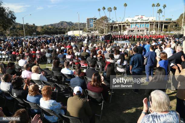 General atmosphere as the Rose Bowl Legacy Foundation hosts the dedication of the Jackie Robinson Statue at Rose Bowl on November 29 2017 in Pasadena...