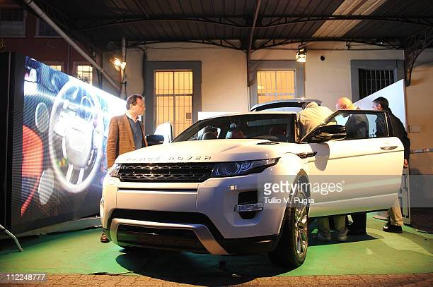 General atmosphere at Benedict Radcliffe wireframe design installation inspired by Range Rover Evoque at the Opificio 31 during Milan Design Week...