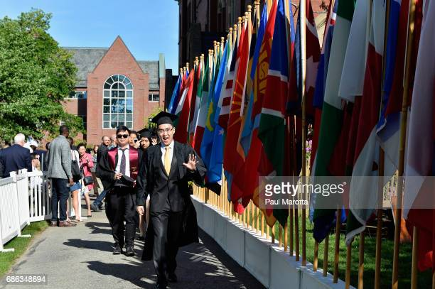 General atmosphere at the 2017 Tufts University 161st Commencement at Tufts University Green on May 21 2017 in Medford Massachusetts Tufts awarded...