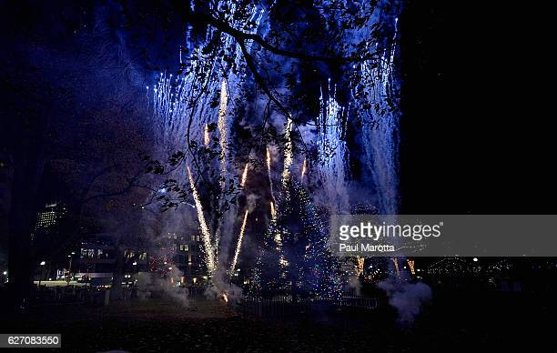General atmosphere at the Annual Boston Christmas Tree Lighting at Boston Common Park on December 1 2016 in Boston Massachusetts The Christmas tree...