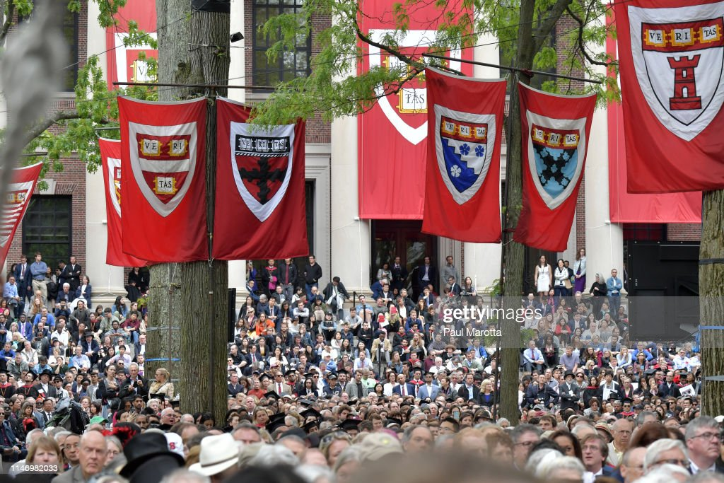 German Chancellor Angela Merkel Speaks At Harvard Commencement : News Photo