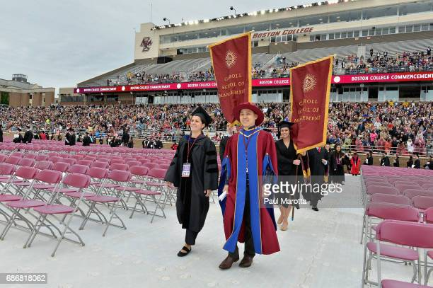 General atmosphere at the Boston College 2017 141st Commencement Exercises at Boston College Alumni Stadium on May 22 2017 in Boston Massachusetts...