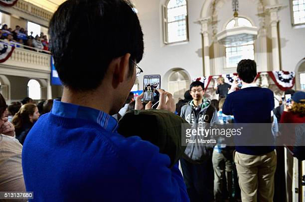 General atmosphere at the 'Get Out The Vote' rally at Old South Meeting House with Democratic Presidential candidate Hillary Clinton on February 29...