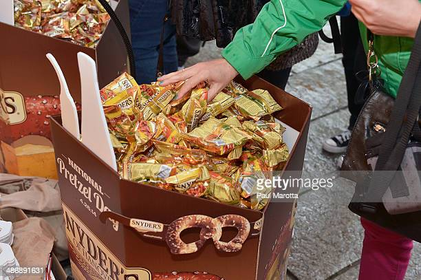 General atmosphere at the Snyder's of Hanover National Pretzel Day Celebration at Faneuil Hall on April 26 2014 in Boston Massachusetts