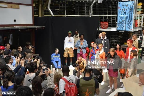 General atmosphere during the Heron Preston Menswear Spring/Summer 2019 'En Vogue' Presentation as part of Paris Fashion Week on June 21 2018 in...