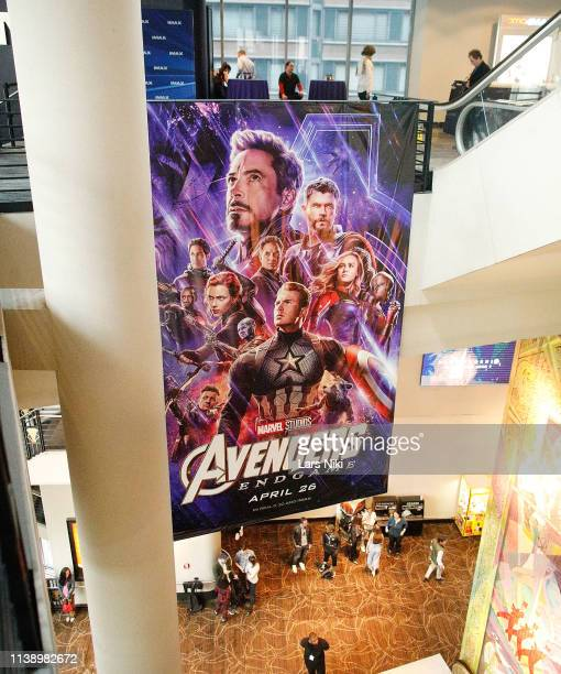 General atmosphere during the IMAX private screening for the movie Avengers Endgame at the IMAX AMC Theatre on April 23 2019 in New York City