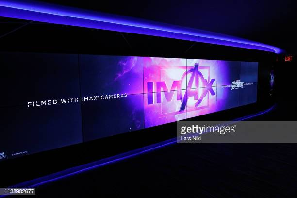 """General atmosphere during the IMAX private screening for the movie: """"Avengers: Endgame"""" at the IMAX AMC Theatre on April 23, 2019 in New York City."""