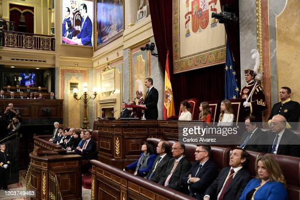 General atmosphere during the solemn opening of the 14th legislature at the Spanish Parliament on February 03 2020 in Madrid Spain