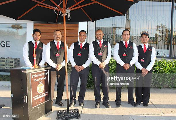 General atmosphere of Kei Parking Valet company at the Mike Sagato The Folly of Youth exhibition at De Re Gallery on April 15 2015 in West Hollywood...