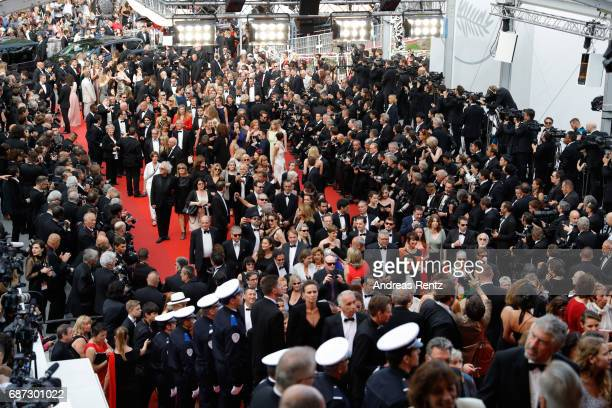 General atmosphere of the red carpet's arrival during the 70th annual Cannes Film Festival at Palais des Festivals on May 23 2017 in Cannes France