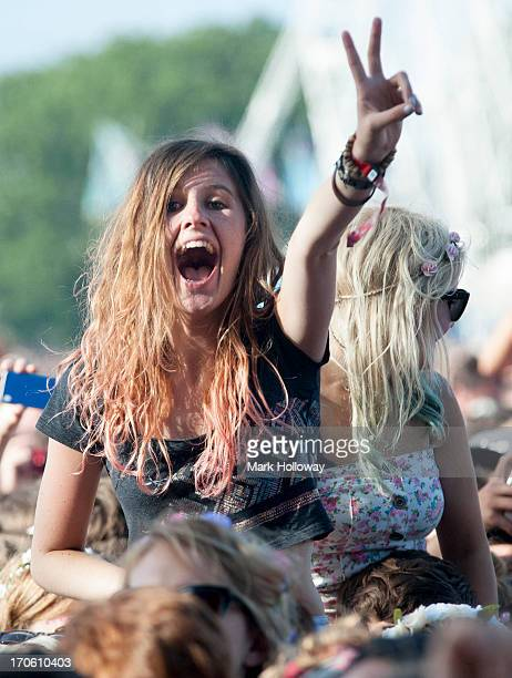 General atmosphere on Day 3 of Isle Of Wight Festival 2013 at Seaclose Park on June 15 2013 in Newport Isle of Wight