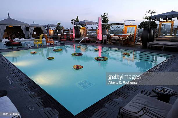 General atmosphere poolside at the SLS Hotel as MercedesBenz celebrates PlayStation 3 Gran Turismo 5 featuring the SLS AMG at SLS Hotel on June 15...