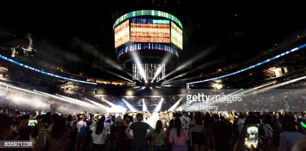 General atmosphere shot at the concert with musical groups SF9 Seventeen Girl's Day Cosmic Girls Super Junior DE and Vixx at KCON 2017 held at...