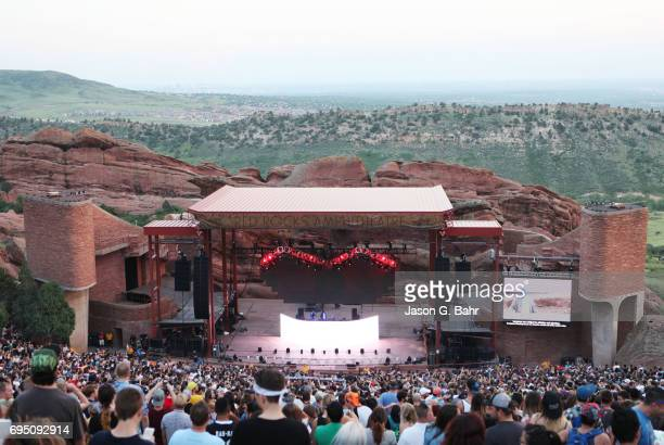 General atmosphere while Jai Wolf performs at Red Rocks Amphitheatre on June 11 2017 in Morrison Colorado