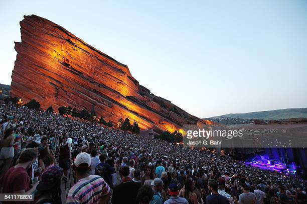 General atmosphere while Rufus du Sol performs at Red Rocks Amphitheatre on June 18 2016 in Morrison Colorado