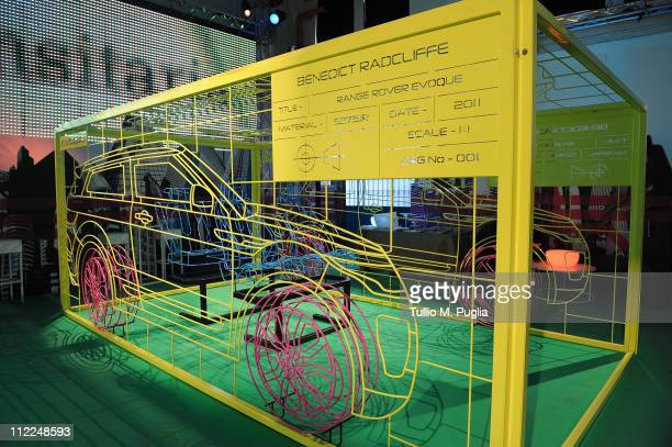 General atmospherea at Benedict Radcliffe wireframe design installation inspired by Range Rover Evoque at the Opificio 31 during Milan Design Week...
