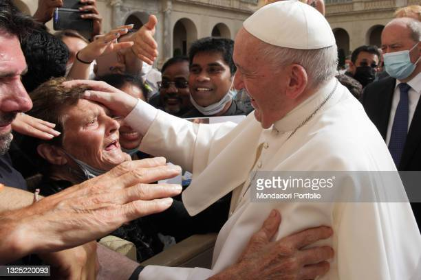 General audience of Pope Francis in the Cortile San Damaso. Present an elderly woman from Palestrina, 95 years old. Vatican City, June 23rd, 2021.