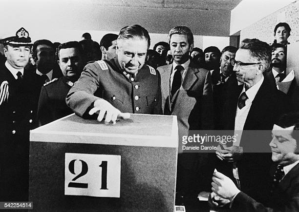 General Augusto Pinochet casts his vote during a referendum in Chile in 1980 67% of the Chilean population have voted for Pinochet's constitution who...