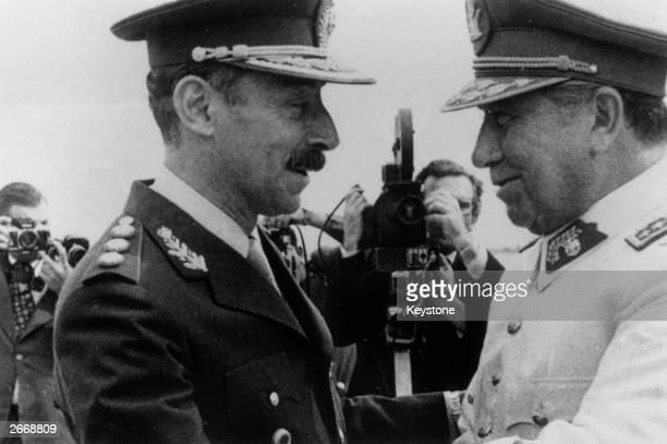 General Augusto Pinochet , the President of Chile with General Jorge Videla, the President of Argentina in Mendoza, Argentina.