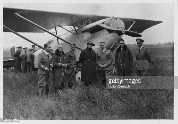 General Balbo the Italian under secretary for air with members of his staff shortly after their arrival in the UK The group will be attending a Royal...