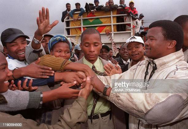 General Bantu Holomisa leader of the United Democratic Movement shakes hands with supporters during a campaign stop in Guguletu in Cape Town 27 May...