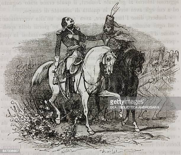 General Barthelemy Catherine Joubert being shot to death at the Battle of Novi Ligure Napoleonic Wars illustration from the first Italian edition of...
