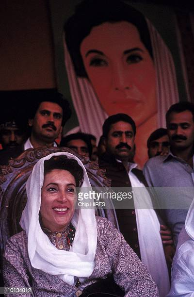 General BBhutto in campaign in Pakistan on January 27 1997 Congress in Larkana Nusrat Benazir Bhutto
