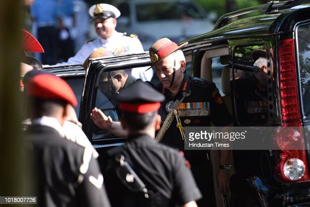 General Bipin Rawat came to pay homage to former Prime Minister Late Atal Bihari Vajpayee at his residence Krishna Menon Marg on August 17 2018 in...