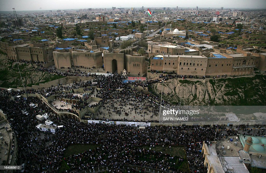 A general birds-eye view shows the northern Iraqi city of Arbil, the capital of the autonomous Kurdistan region, on 19 March 2013.