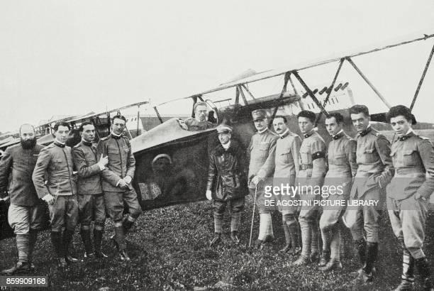 General Bongiovanni and Gabriele D'Annunzio amongst the pilots of the Serenissima squadron Italy World War I from l'Illustrazione Italiana Year XLV...