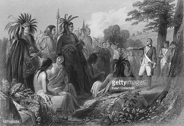 'General Burgoyne addressing the Indians' British army officer General John Burgoyne attempts to win the support of the Native American population...
